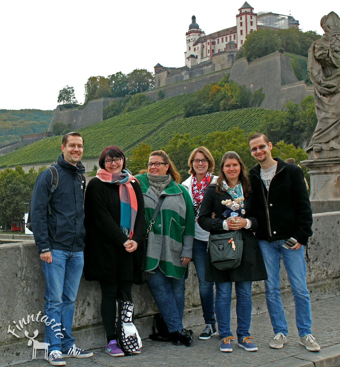 Finnlandverrückte Blogger on Tour in Würzburg (von links: René (Finntouch), Tine (Finnweh), Michaela (Mahtava), Inken (Finntastic), Steffi & Markus (Finnpressions)