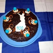 (FOTO: Finntastic) Fertig ist er! Unser Rentier-Schokoladenkuchen mit Moltebeerfüllung und Schoko-Salmiak-Glasur!