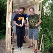 (FOTO: Finntastic) Unter der Federführung von Juhani und Matthias vom FIN-GER entsteht auf dem Bürgerbräu-Areal eine traditionelle, finnische Sauna.