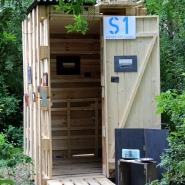 (FOTO: Finntastic) Die fertige FIN-GER Art Sauna auf dem Bürgerbräu-Gelände im Würzburger Stadtteil Zellerau.