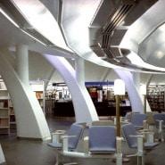 """(FOTO: Illustration aus Kaisa Broner-Bauers Buch """"Visions of architecture"""", Oku Publishing) Blick in die Metso-Bibliothek. Auch hier finden sich Formen der Natur wider."""