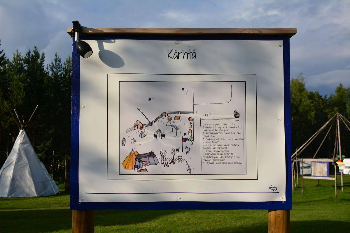 (FOTO: Liane Gruda) Lageplan der samischen Siedlung und Gemeinschaft Nutti Sámi Siida in Čohkkiras/Jukkasjärvi