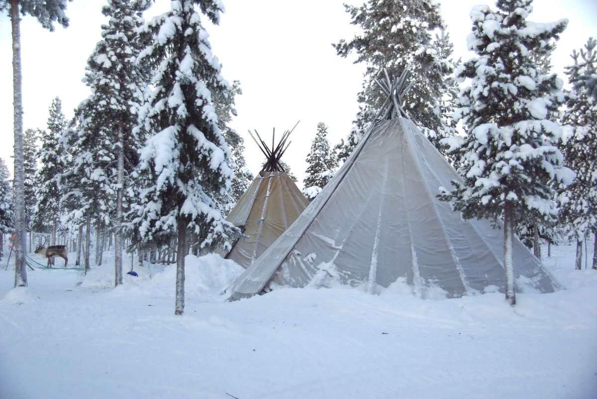 (FOTO: Liane Gruda) Zwei samische Lavvus im Schnee auf dem Gelände der Nutti Sámi Siida.