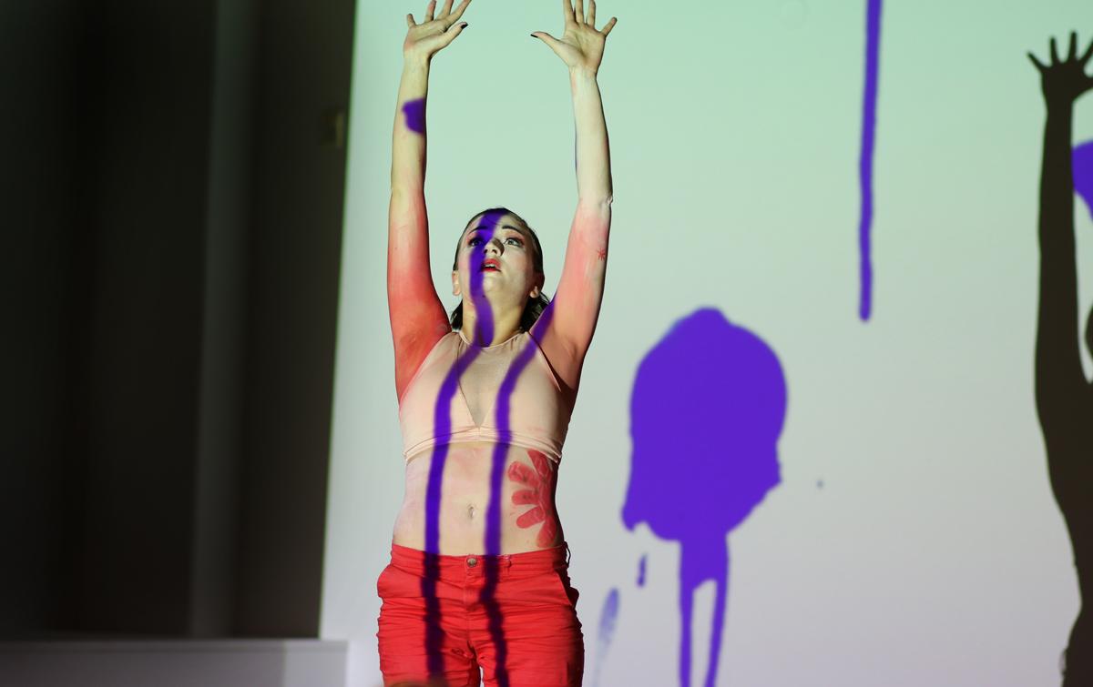 "(Photo: Markus Heinonen) Wilma-Emilia Kuosa during her ""underground art"" piece ""The Geisha Dance Concert""."