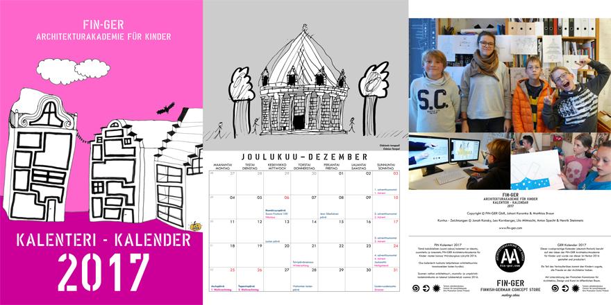 Der zweisprachige FIN-GER Kalender 2017 der Architekturakademie für Kinder