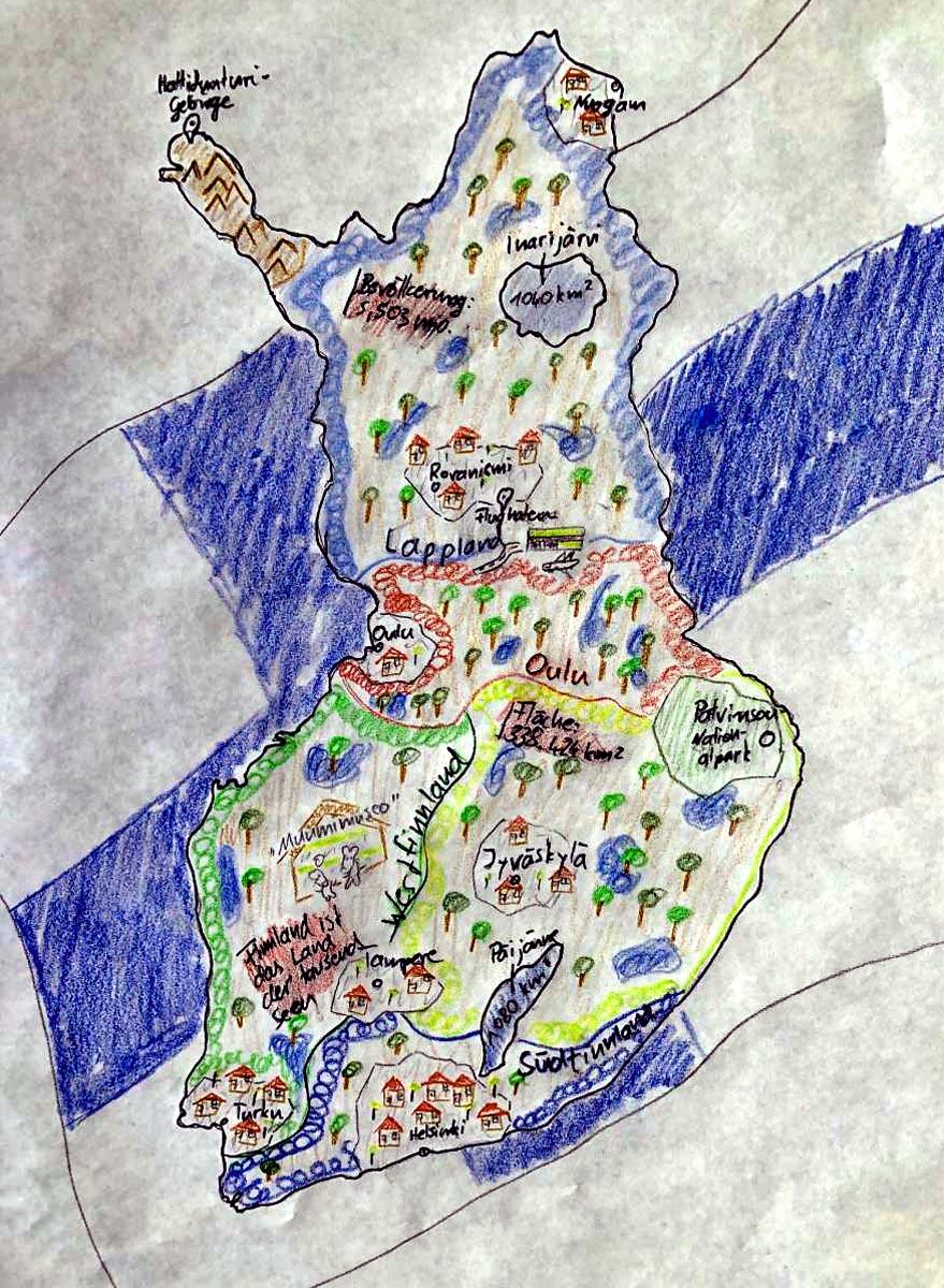 Finnlandkarte selbstgemalt