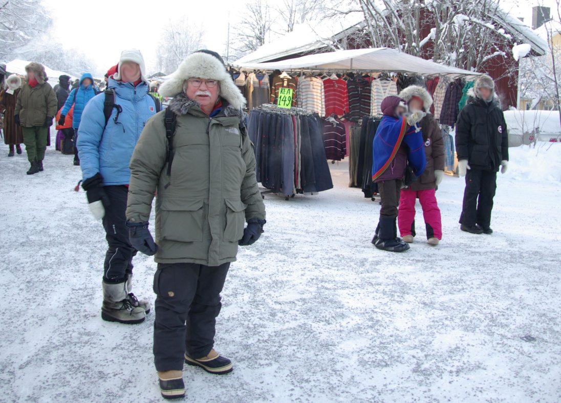 Hans-Joachim Gruda auf dem samischen Wintermarkt in Jokkmokk
