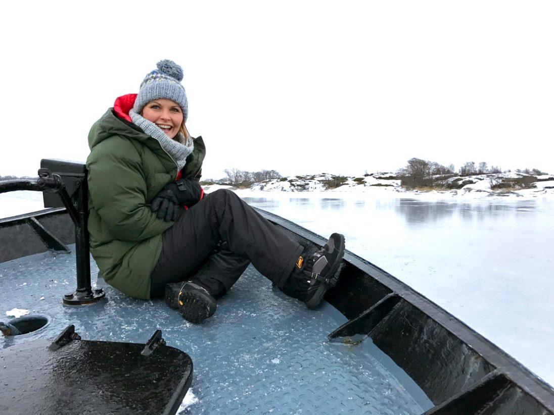 Kristin Recke auf dem Eisbrecher Sampo