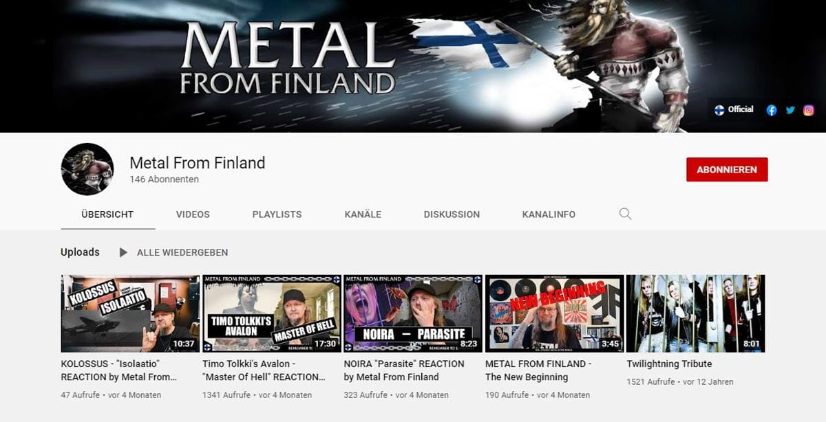 Metal from Finland Youtube Channel