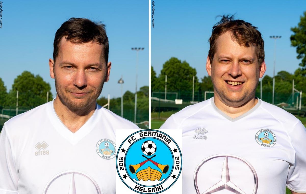 (Collage: Finntastic | LOGO: FC Germania Helsinki | FOTOS: Suomi Photography/Manuel Bösch) Aus Leidenschaft für den Fußball - Vorsitzender Tim Becker und Kassenwart Simon Schultheis kicken selbstverständlich auch für den Verein.