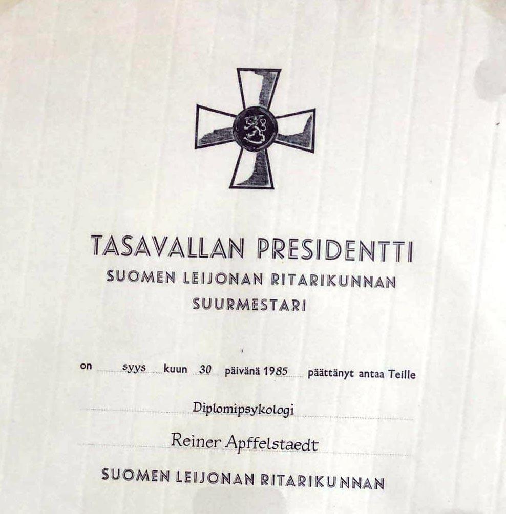 Ritterorden des Löwen von Finnland von Reiner Apffelstaedt